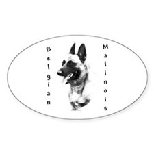 Malinois Charcoal Oval Decal