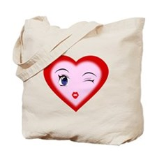 Cartoon Heart Face Tote Bag