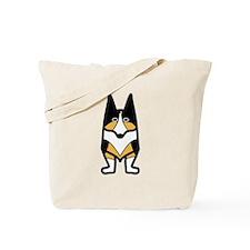 Black Headed Tri-colored Corgi Reb Design Tote Bag