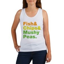 Fish and Chips and Mushy Peas. Women's Tank Top