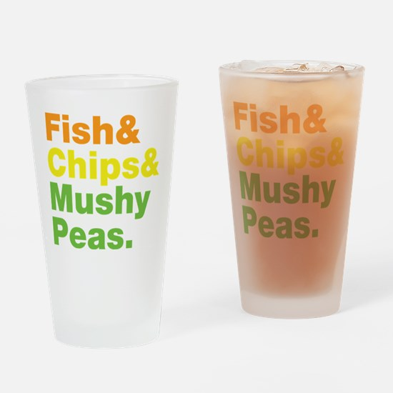 Fish and Chips and Mushy Peas. Drinking Glass