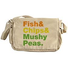 Fish and Chips and Mushy Peas. Messenger Bag