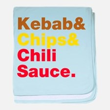 Kebab and Chips and Chili Sauce. baby blanket