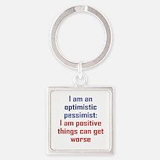 Optimistic Pessimist Square Keychain