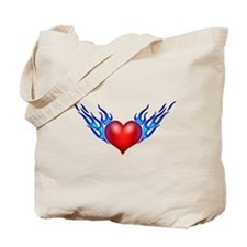 Heart With Blue Flames Tote Bag