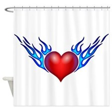 Heart With Blue Flames Shower Curtain