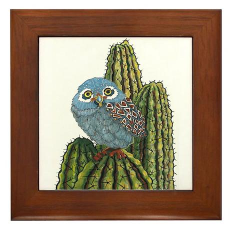 Soutwest Elf Owl Art Framed Tile