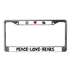 Peace-Love-Bears License Plate Frame