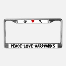Peace-Love-Aardvarks License Plate Frame