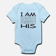 I am His block letters Infant Bodysuit