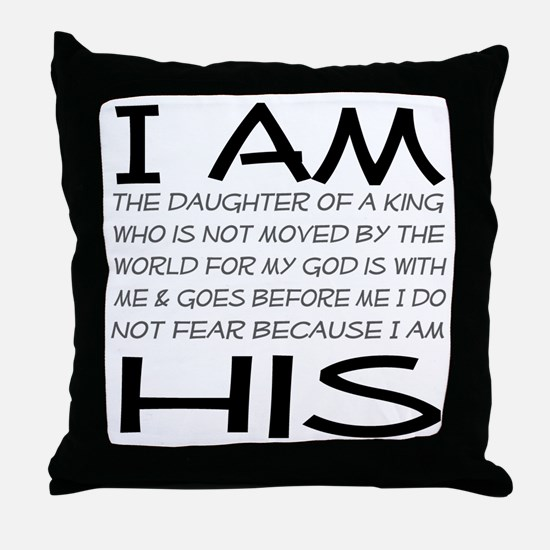 I am His block letters Throw Pillow