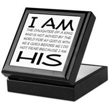 I am His block letters Keepsake Box