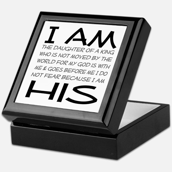 I am His block letters Keepsake Box