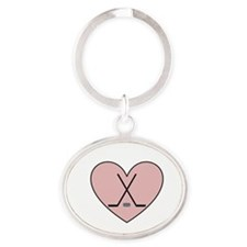 Hockey Heart Oval Keychain