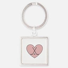 Hockey Heart Square Keychain