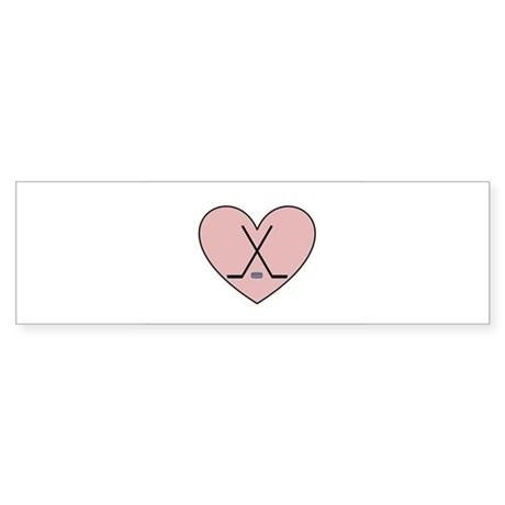 Hockey Heart Bumper Sticker