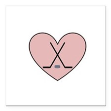"Hockey Heart Square Car Magnet 3"" x 3"""