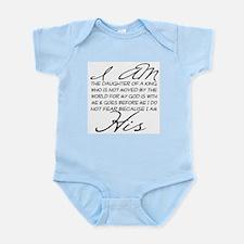 I am His script letters Infant Bodysuit