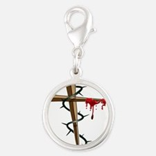 Nail Cross Silver Round Charm
