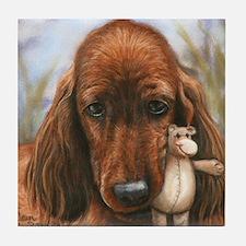 Irish Setter Pup by Dawn Secord Tile Coaster