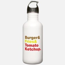 Burger and Fries and Tomato Ketchup. Water Bottle
