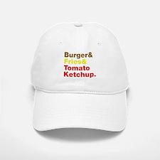 Burger and Fries and Tomato Ketchup. Baseball Baseball Cap