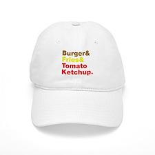 Burger and Fries and Tomato Ketchup. Baseball Cap