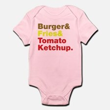 Burger and Fries and Tomato Ketchup. Infant Bodysu