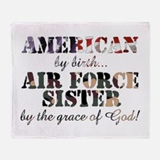 Air Force Sister by grace of God Throw Blanket