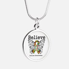 Believe Butterfly Autism Silver Round Necklace