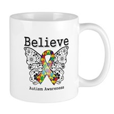 Believe Butterfly Autism Small Mug