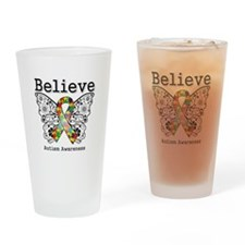 Believe Butterfly Autism Drinking Glass