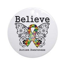 Believe Butterfly Autism Ornament (Round)