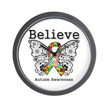 Believe Butterfly Autism Wall Clock