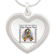 Autism Awareness Inspirations Silver Heart Necklac