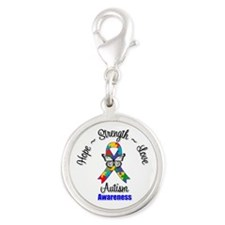 Hope Strength Love Autism Silver Round Charm