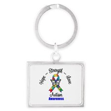 Hope Strength Love Autism Landscape Keychain