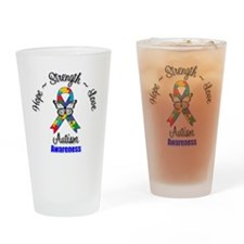 Hope Strength Love Autism Drinking Glass