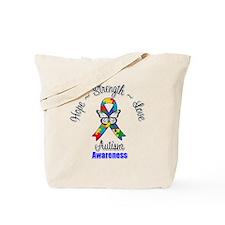 Hope Strength Love Autism Tote Bag