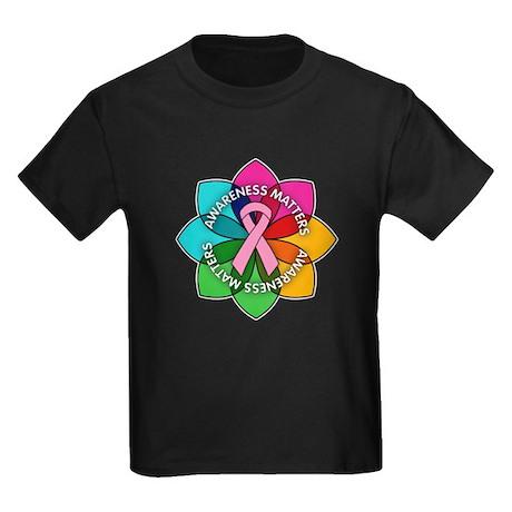 Breast Cancer Awareness Petals Kids Dark T-Shirt