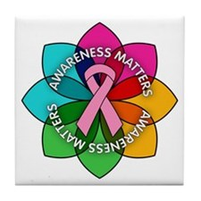 Breast Cancer Awareness Petals Tile Coaster