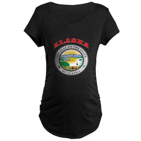 Alaska State Seal Maternity Dark T-Shirt