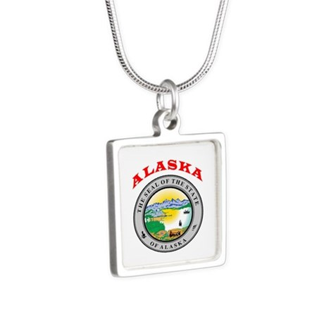 Alaska State Seal Silver Square Necklace
