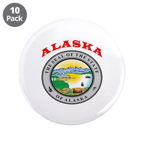 "Alaska State Seal 3.5"" Button (10 pack)"