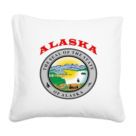 Alaska State Seal Square Canvas Pillow