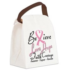 Breast Cancer Believe Heart Collage Canvas Lunch B