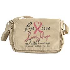 Breast Cancer Believe Heart Collage Messenger Bag