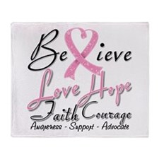 Breast Cancer Believe Heart Collage Throw Blanket
