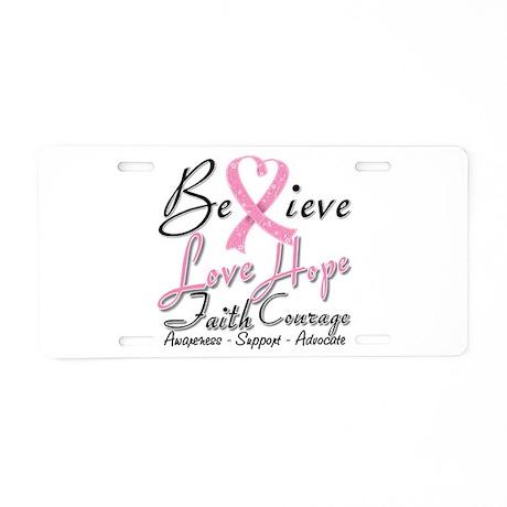 Breast Cancer Believe Heart Collage Aluminum Licen