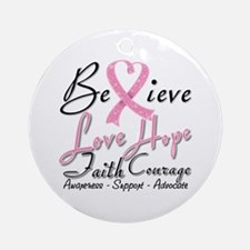 Breast Cancer Believe Heart Collage Ornament (Roun